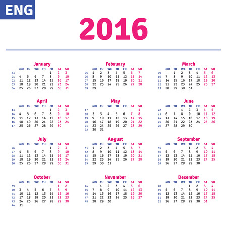 quarterly: English calendar 2016, horizontal calendar grid, vector Illustration