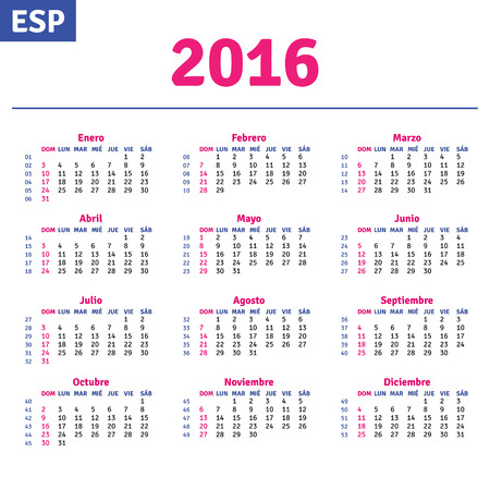 horizontal: Spanish calendar 2016, horizontal calendar grid, vector