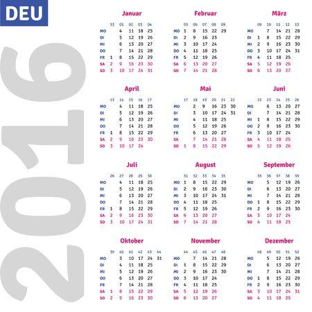 scheduler: German calendar 2016, vertical calendar grid, vector