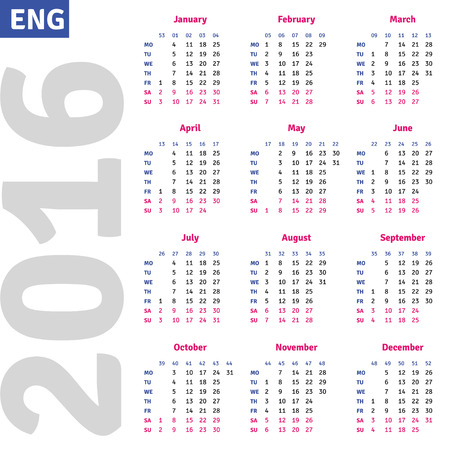 quarterly: English calendar 2016, vertical calendar grid, vector