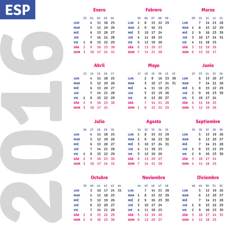 grid: Spanish calendar 2016, vertical calendar grid, vector