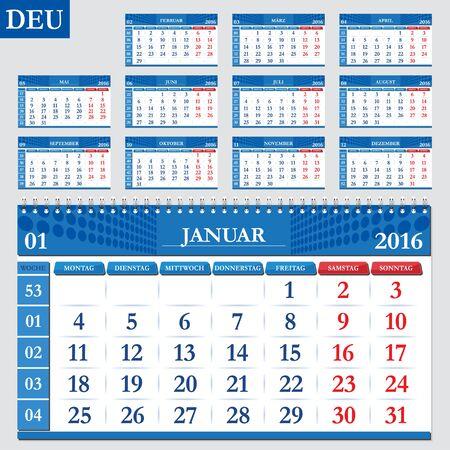 deutsch: German calendar 2016, horizontal calendar grid, vector