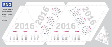 scheduler: Template english calendar 2016 pyramid shaped, vector