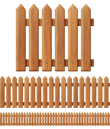 Seamless wooden fence Vectores