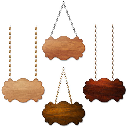 wood texture: Set of wooden sign banner background hanging on metal chains