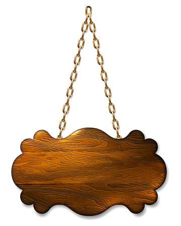 label frame: A wooden sign banner background hanging on metal chains