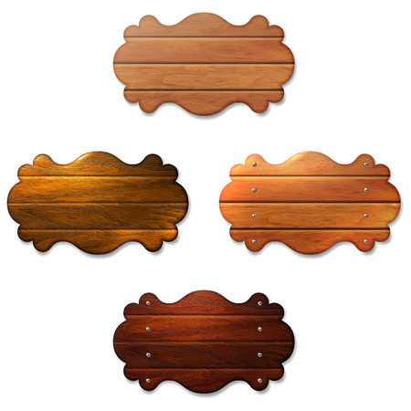 Set of wooden signboard from boards connected by screws