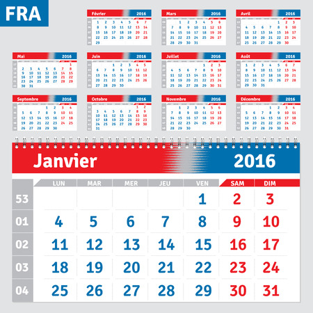 grid: French calendar 2016, horizontal calendar grid, vector