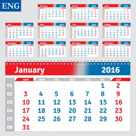 horizontal: English calendar 2016, horizontal calendar grid, vector Illustration