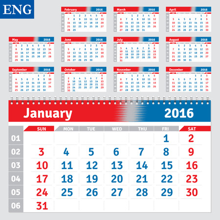 English calendar 2016, horizontal calendar grid, vector Illustration