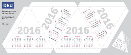 quarterly: Template german calendar 2016 pyramid shaped