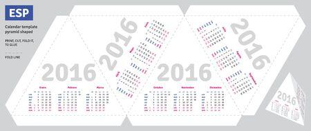 quarterly: Template spanish calendar 2016 pyramid shaped Illustration