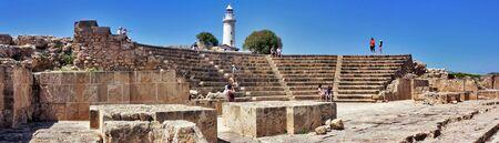 amphitheatre: The ancient amphitheatre in Paphos Cyprus. Horizontal banner Stock Photo