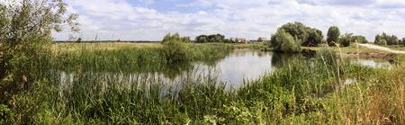 pastoral: Pastoral rural landscape river meadow village. Horizontal banner