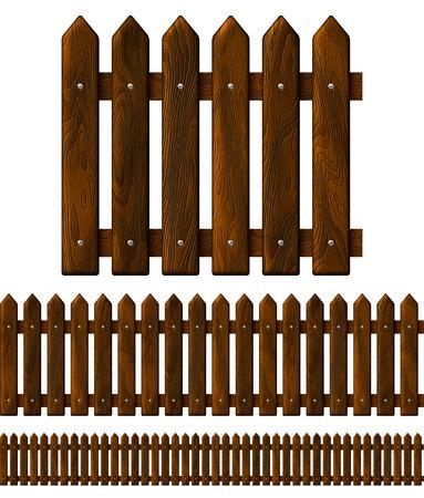 ebony wood: Seamless wooden fence, isolated on white
