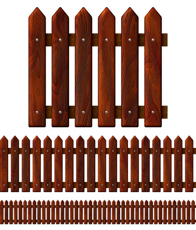 Seamless wooden fence, isolated on white