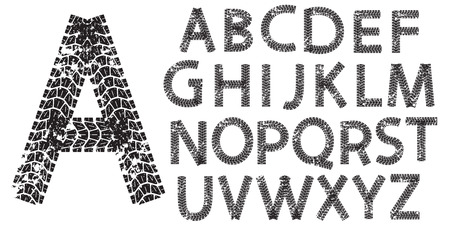 Vector alphabet letters made from motorcycle tire tracks, isolated on white