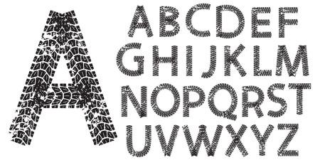pisar: Letras del alfabeto vector hechos de huellas de neumáticos de motocicleta, aislados en blanco