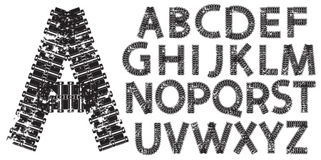 Vector alphabet letters made from tank and tractor tracks, isolated on white Illustration
