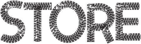 spares: Store text with the letters made from motorcycle tire tracks, isolated on white