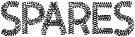 spares: Spares text with the letters made from motorcycle tire tracks, isolated on white Illustration