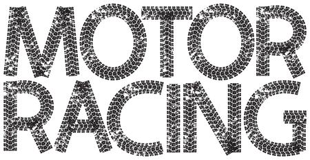motor racing: Texto Motor Racing con las letras hechas de huellas de neum�ticos de la motocicleta, aislado en blanco Vectores