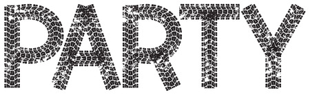 spares: Party text with the letters made from motorcycle tire tracks, isolated on white Illustration