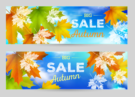 Autumn Sale vector horizontal banner, background with maple leaves
