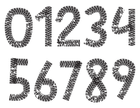 Vector digits made from motorcycle tire tracks, isolated on white