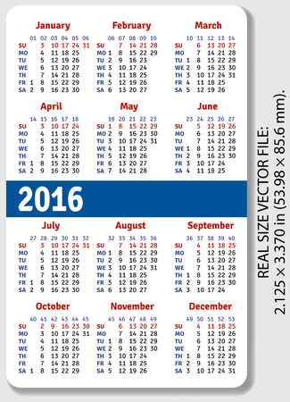 English pocket calendar for 2016, standard size ISO 7810 ID-1, vector Illustration
