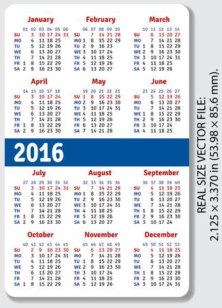 English pocket calendar for 2016, standard size ISO 7810 ID-1, vector Vettoriali