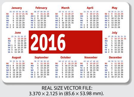 standard size: English pocket calendar for 2016, standard size ISO 7810 ID-1, vector Illustration