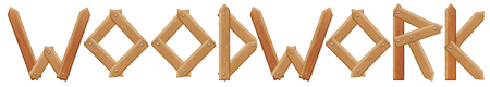 woodwork: Vector woodwork word, made from wooden boards, isolated on white Illustration