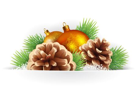 pine cones: Banner, winter background or card template with pine branches, pine cones and Christmas balls, vector background