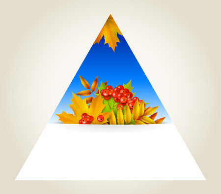 mountain ash: Triangular autumn background, icon or design element with yellow maple leaves and berries of mountain ash, vector background