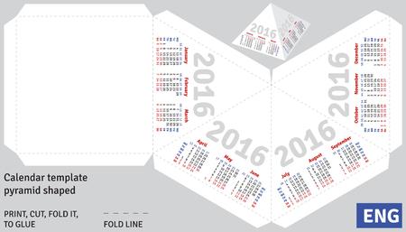 shaped: Template english calendar 2016 pyramid shaped, vector