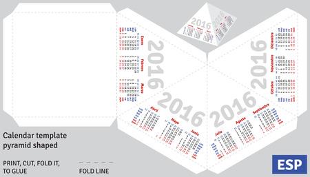 shaped: Template spanish calendar 2016 pyramid shaped, vector Illustration