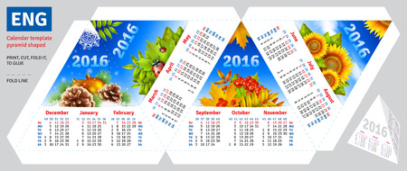 shaped: Template english calendar 2016 by seasons pyramid shaped, vector background