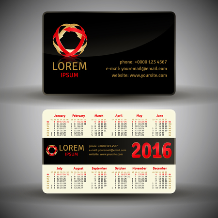 quarterly: English pocket calendar for 2016, vector template