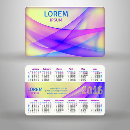 English pocket calendar for 2016, vector template