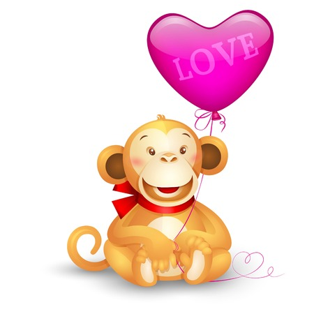 baby animals: Vector icon - cute toy monkey holding a balloon in the shape of heart