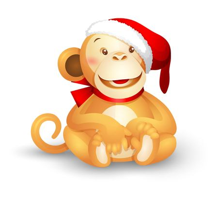 funny baby: Christmas vector icon - a cute toy monkey in a Santa Claus hat