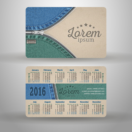 clothes organizer: English pocket calendar for 2016 from cardboard and denim, vector template Illustration
