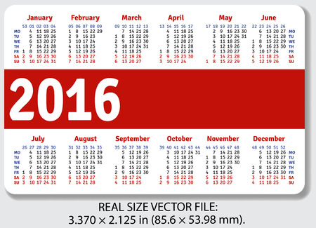standard size: English pocket calendar for 2016, standard size ISO 7810 ID-1, vector Illustration