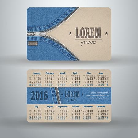 mezclilla: Calendario de bolsillo Ingl�s para el 2016 de cart�n y tela vaquera, la plantilla de vectores
