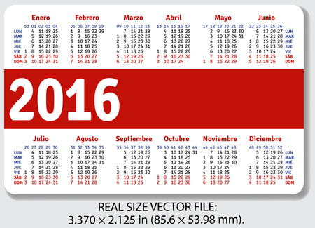 pocket size: Spanish pocket calendar for 2016, standard size ISO 7810 ID-1, vector Illustration