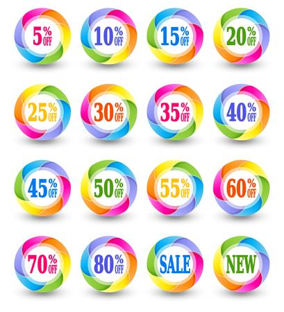 reduced value: Sale discount percent icons, special offer vector signs. Illustration