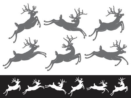 reindeer silhouette: Black vector silhouettes on white background, set of different running and jumping Christmas Reindeer Illustration