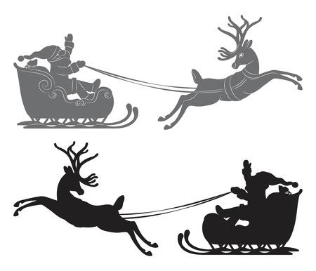 sleigh: Black vector silhouette, Flying Santa Claus in a reindeer sleigh