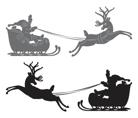 Black vector silhouette, Flying Santa Claus in a reindeer sleigh